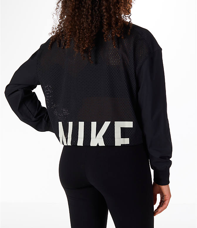 Back Right view of Women's Nike Sportswear Mesh Bomber Jacket in Black/White