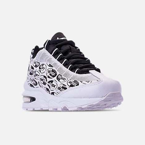 Three Quarter view of Boys' Big Kids' Nike Air Max 95 Casual Shoes in White/Black/White
