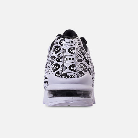 Back view of Boys' Big Kids' Nike Air Max 95 Casual Shoes in White/Black/White