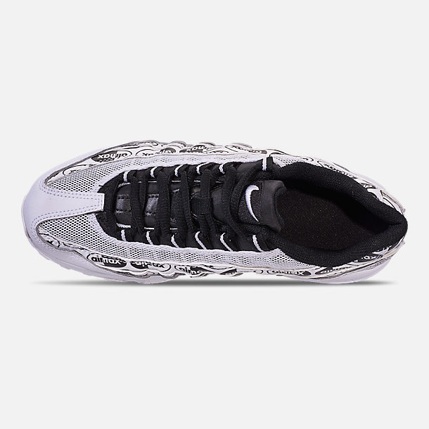 Top view of Boys' Big Kids' Nike Air Max 95 Casual Shoes in White/Black/White