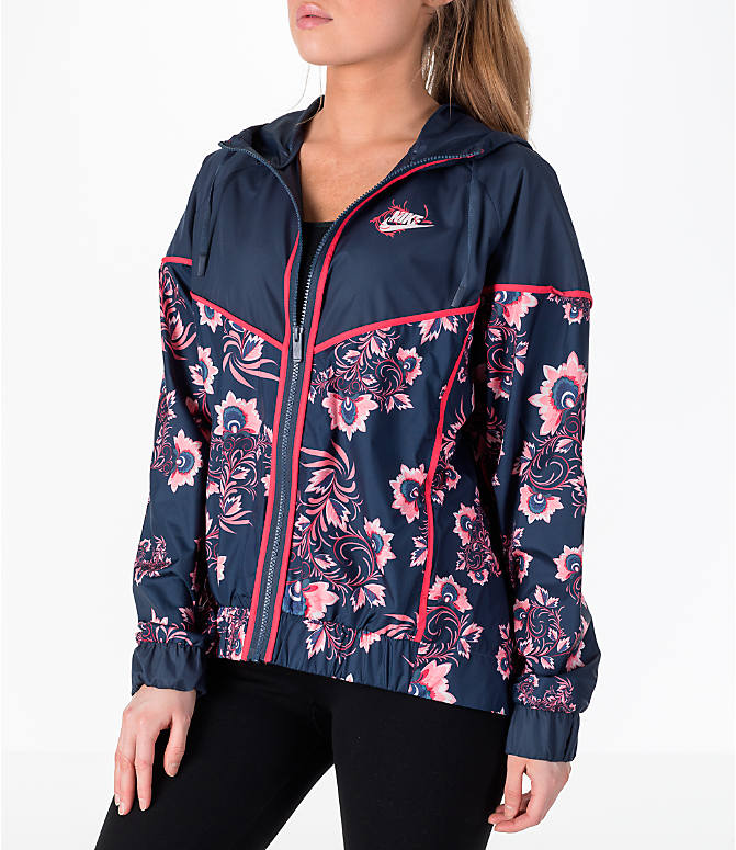 Front view of Women's Nike Sportswear Allover Print Windrunner Jacket in Thunder Blue/Floral