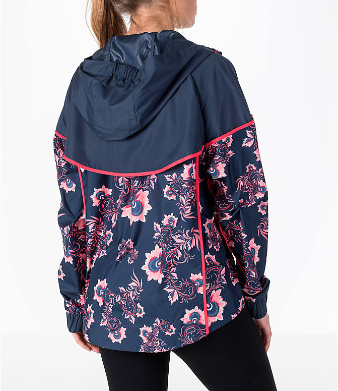 Back Right view of Women's Nike Sportswear Allover Print Windrunner Jacket in Thunder Blue/Floral