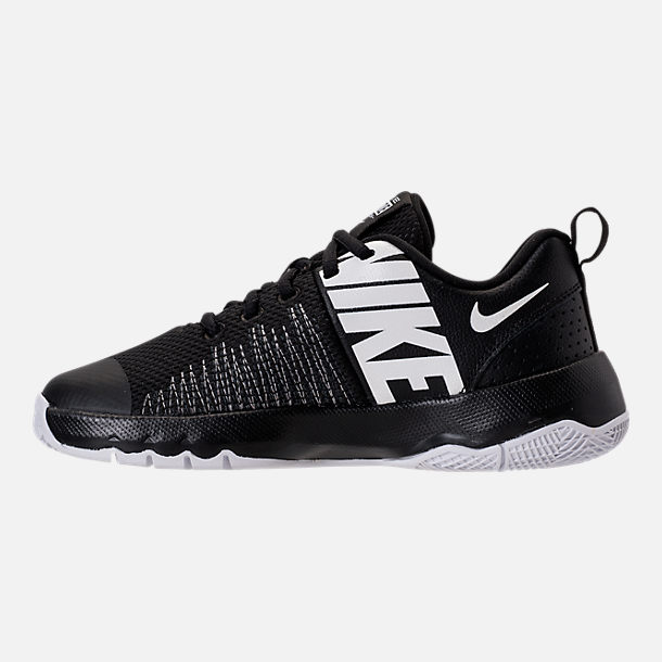 Left view of Boys' Big Kids' Nike Team Hustle Quick Basketball Shoes in Black/White