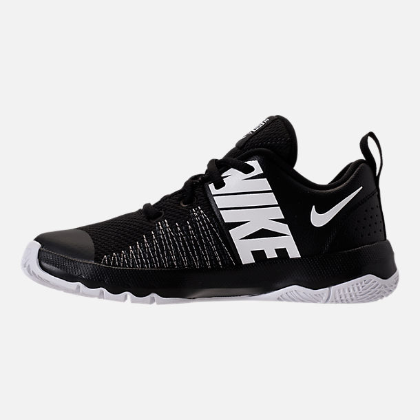 Left view of Boys' Preschool Nike Team Hustle Quick Basketball Shoes in Black/White