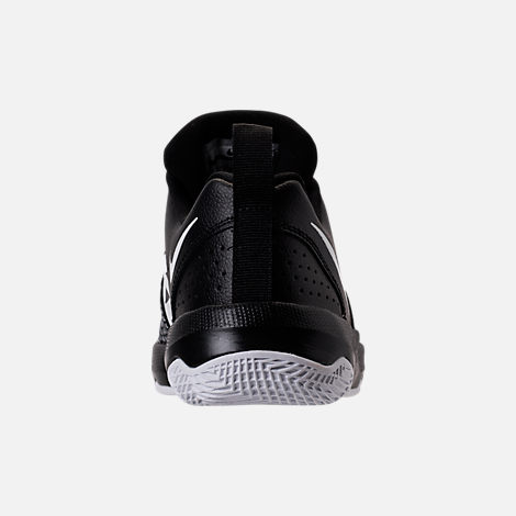 Back view of Boys' Preschool Nike Team Hustle Quick Basketball Shoes in Black/White