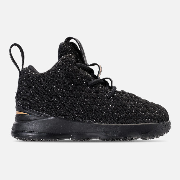Right view of Kids' Toddler Nike LeBron 15 Basketball Shoes in Black/Metallic Gold/Black