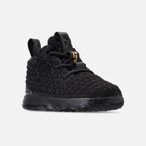 Three Quarter view of Kids' Toddler Nike LeBron 15 Basketball Shoes in Black/Metallic Gold/Black