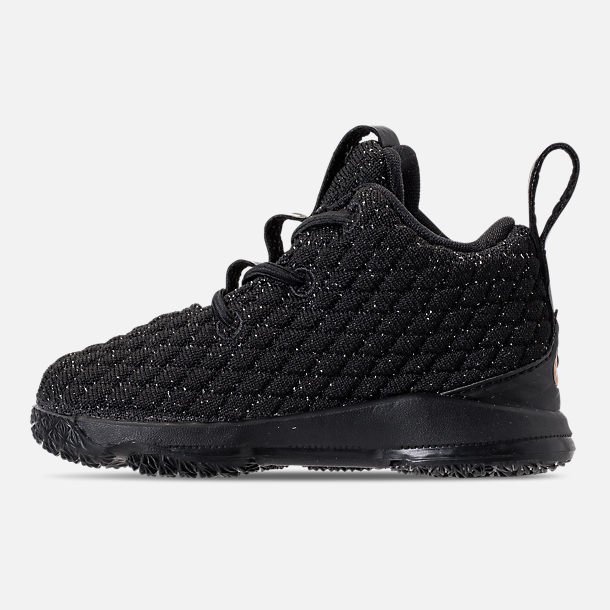 Left view of Kids' Toddler Nike LeBron 15 Basketball Shoes in Black/Metallic Gold/Black
