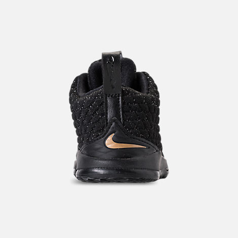 Back view of Kids' Toddler Nike LeBron 15 Basketball Shoes in Black/Metallic Gold/Black