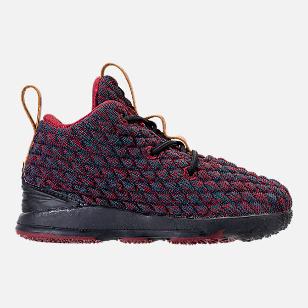 Right view of Kids' Toddler Nike LeBron 15 Basketball Shoes in Dark Atomic Teal/Ale Brown/Red