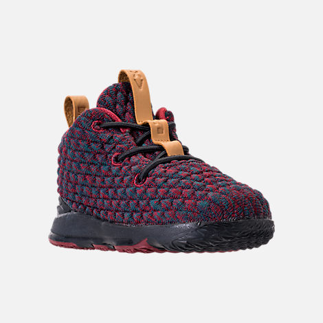 Three Quarter view of Kids' Toddler Nike LeBron 15 Basketball Shoes in Dark Atomic Teal/Ale Brown/Red