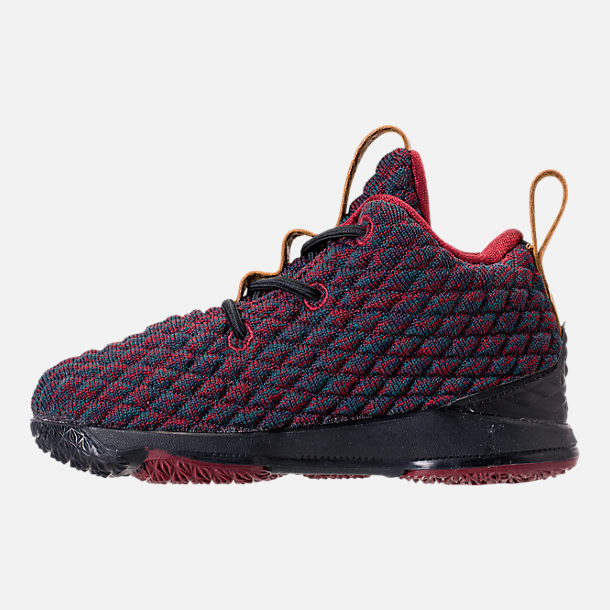 Left view of Kids' Toddler Nike LeBron 15 Basketball Shoes in Dark Atomic Teal/Ale Brown/Red
