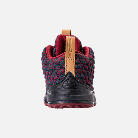 Back view of Kids' Toddler Nike LeBron 15 Basketball Shoes in Dark Atomic Teal/Ale Brown/Red