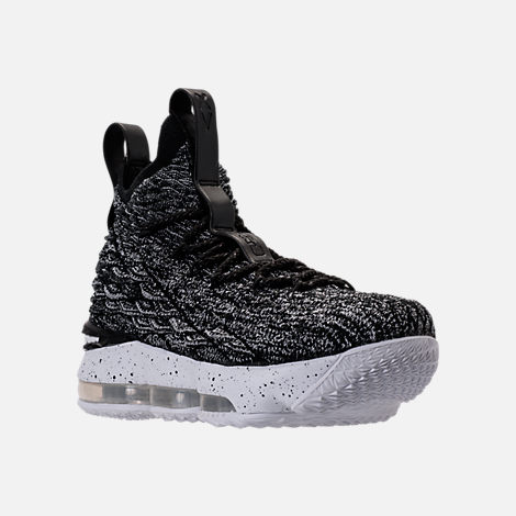 Three Quarter view of Kids' Grade School Nike LeBron 15 Basketball Shoes in Black/White/White