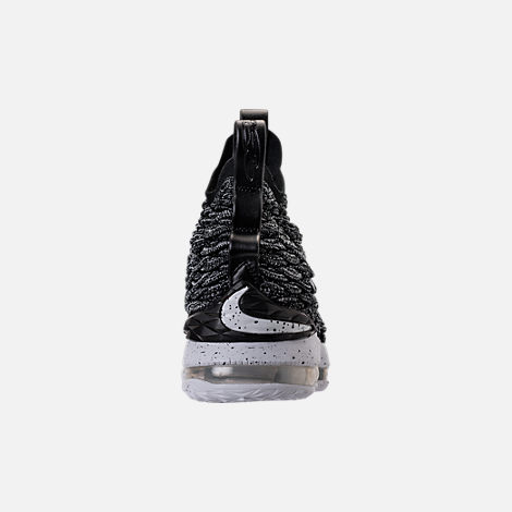 Back view of Kids' Grade School Nike LeBron 15 Basketball Shoes in Black/White/White