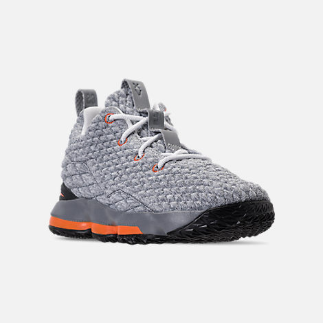 Three Quarter view of Kids' Preschool Nike LeBron 15 Basketball Shoes in Black/Safety Orange/Dark Grey