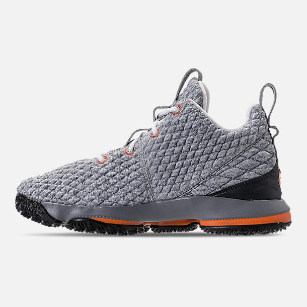 Left view of Kids' Preschool Nike LeBron 15 Basketball Shoes in Black/Safety Orange/Dark Grey