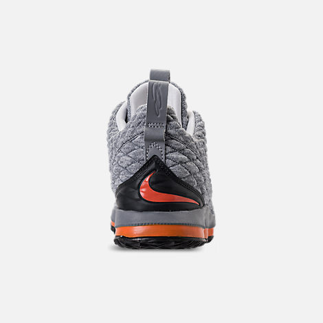 Back view of Kids' Preschool Nike LeBron 15 Basketball Shoes in Black/Safety Orange/Dark Grey