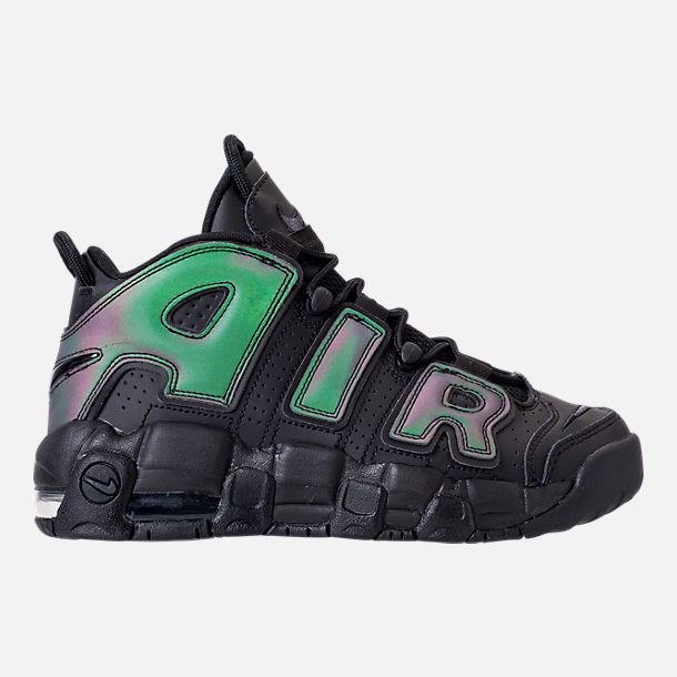Right view of Boys' Grade School Nike Air More Uptempo SE Basketball Shoes in Black/Wolf Grey
