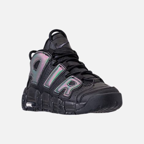 Three Quarter view of Boys' Grade School Nike Air More Uptempo SE Basketball Shoes in Black/Wolf Grey