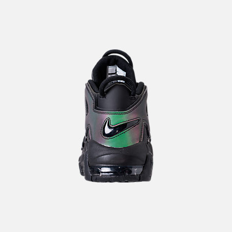 Back view of Boys' Grade School Nike Air More Uptempo SE Basketball Shoes in Black/Wolf Grey