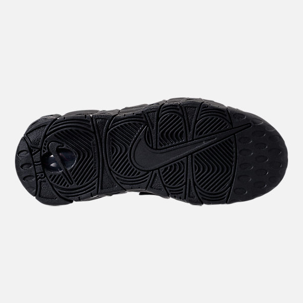 Bottom view of Boys' Grade School Nike Air More Uptempo SE Basketball Shoes in Black/Wolf Grey