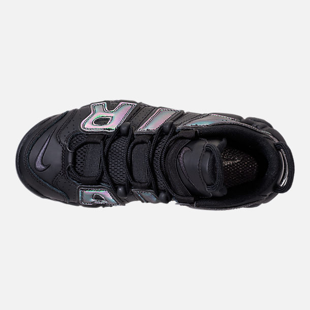 Top view of Boys' Grade School Nike Air More Uptempo SE Basketball Shoes in Black/Wolf Grey