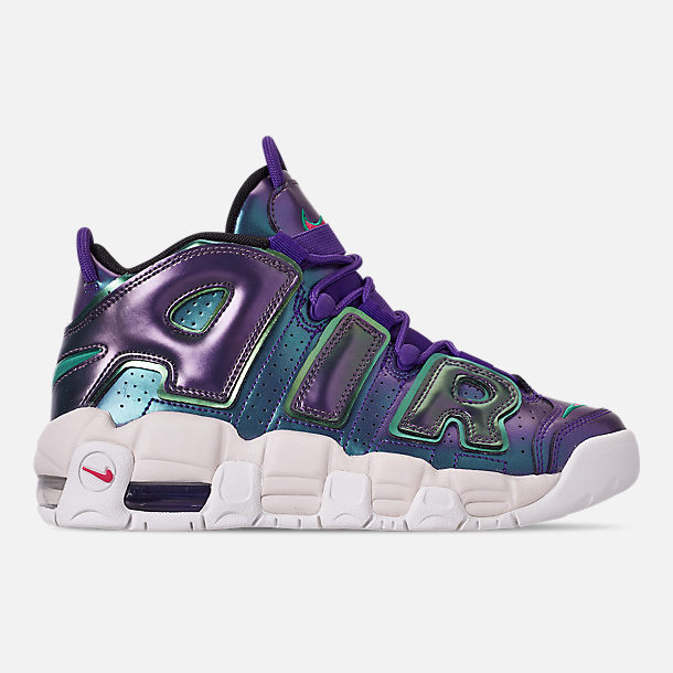 Right view of Big Kids' Nike Air More Uptempo SE Basketball Shoes in Court Purple/Rush Pink/Neptune/Green
