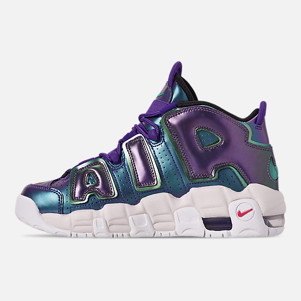 Left view of Big Kids' Nike Air More Uptempo SE Basketball Shoes in Court Purple/Rush Pink/Neptune/Green
