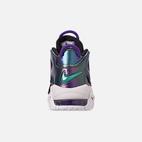 Back view of Big Kids' Nike Air More Uptempo SE Basketball Shoes in Court Purple/Rush Pink/Neptune/Green