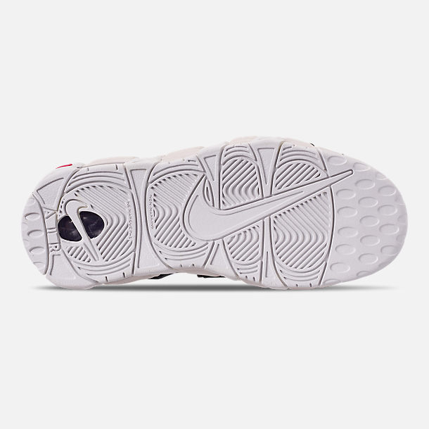 Bottom view of Big Kids' Nike Air More Uptempo SE Basketball Shoes in Court Purple/Rush Pink/Neptune/Green