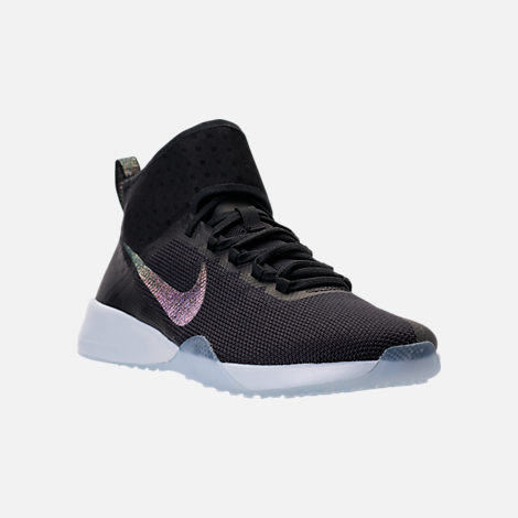 Three Quarter view of Women's Nike Air Zoom Strong 2 Metallic Training Shoes in Black/Multi-Color/Pure Platinum