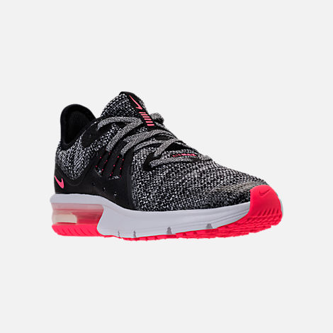 Three Quarter view of Girls' Grade School Nike Air Max Sequent 3 Running Shoes in Black/Racer Pink/Anthracite