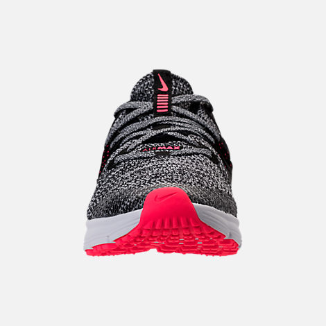 Front view of Girls' Grade School Nike Air Max Sequent 3 Running Shoes in Black/Racer Pink/Anthracite