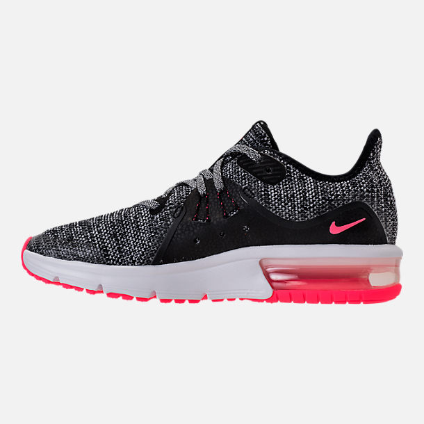 Left view of Girls' Grade School Nike Air Max Sequent 3 Running Shoes in Black/Racer Pink/Anthracite