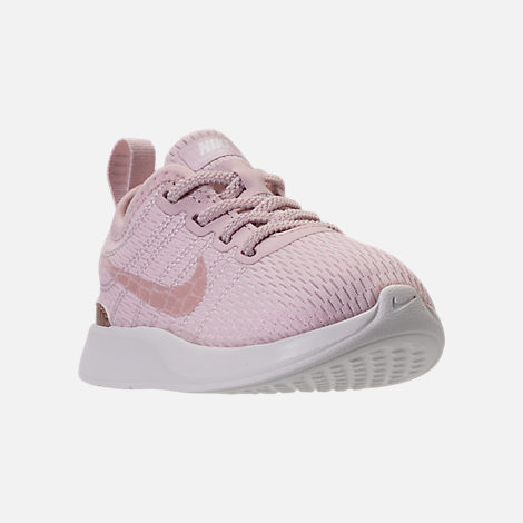 Three Quarter view of Girls' Toddler Nike Dualtone Racer Casual Shoes in Barely Rose/Metallic Red Bronze