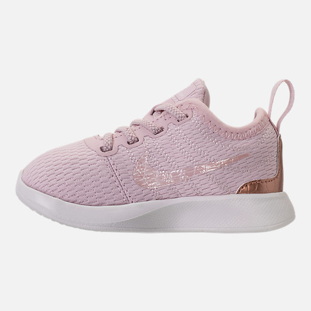 Left view of Girls' Toddler Nike Dualtone Racer Casual Shoes in Barely Rose/Metallic Red Bronze