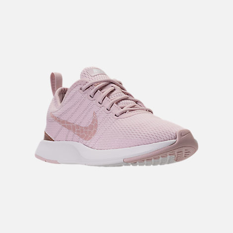 Three Quarter view of Girls' Preschool Nike Dualtone Racer Casual Shoes in Barely Rose/Metallic Red Bronze