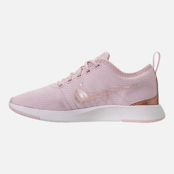 Left view of Girls' Preschool Nike Dualtone Racer Casual Shoes in Barely Rose/Metallic Red Bronze
