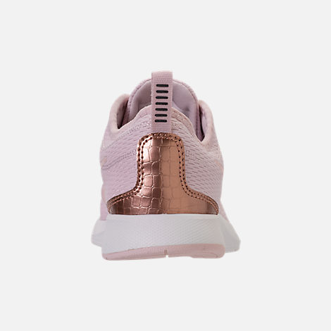 Back view of Girls' Preschool Nike Dualtone Racer Casual Shoes in Barely Rose/Metallic Red Bronze