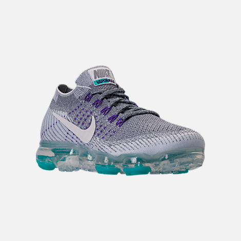Three Quarter view of Women's Nike Air VaporMax Flyknit Running Shoes in Cool Grey/White/Pure Platinum