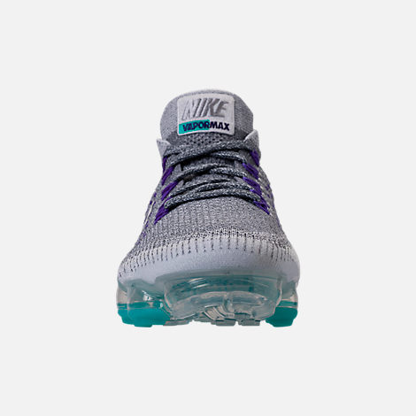 Front view of Women's Nike Air VaporMax Flyknit Running Shoes in Cool Grey/White/Pure Platinum
