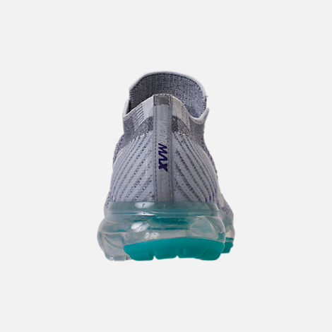 Back view of Women's Nike Air VaporMax Flyknit Running Shoes in Cool Grey/White/Pure Platinum