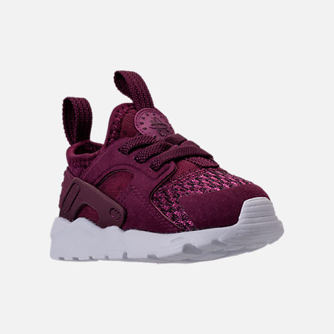 Three Quarter view of Boys' Toddler Nike Air Huarache Run Ultra SE Casual Shoes in Bordeaux/Tea Berry/Black