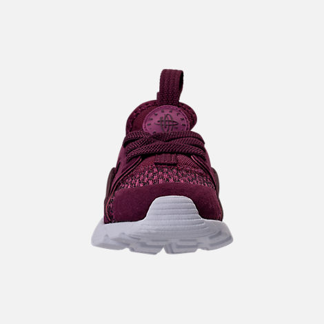 Front view of Boys' Toddler Nike Air Huarache Run Ultra SE Casual Shoes in Bordeaux/Tea Berry/Black