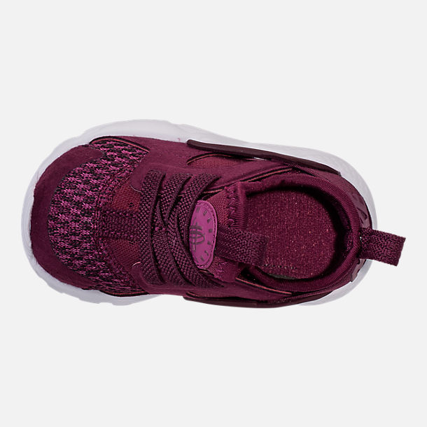 Top view of Boys' Toddler Nike Air Huarache Run Ultra SE Casual Shoes in Bordeaux/Tea Berry/Black
