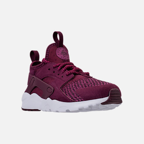 Three Quarter view of Boys' Preschool Nike Air Huarache Run Ultra SE Casual Shoes in Bordeaux/Tea Berry/Black