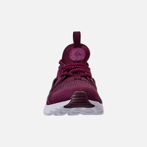 Front view of Boys' Preschool Nike Air Huarache Run Ultra SE Casual Shoes in Bordeaux/Tea Berry/Black