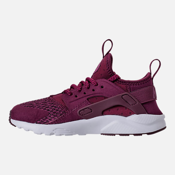Left view of Boys' Preschool Nike Air Huarache Run Ultra SE Casual Shoes in Bordeaux/Tea Berry/Black