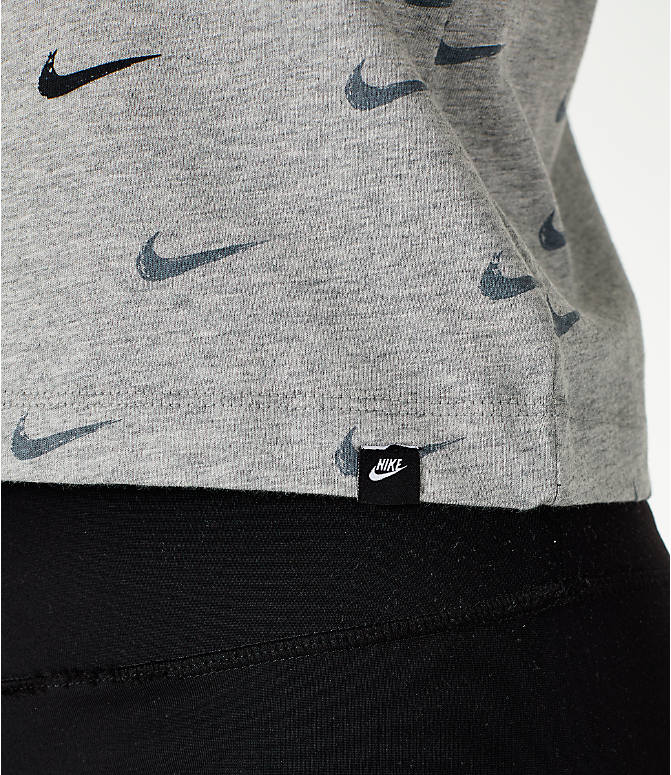 Detail 2 view of Women's Nike Sportswear Swoosh Crop Tank in Grey/Black
